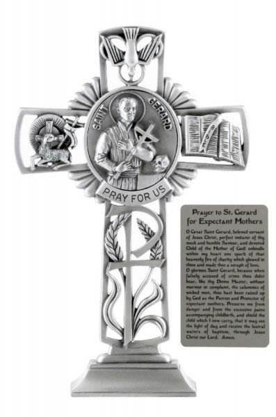 Saint Gerard Standing Cross in Pewter 6 Inches - Pewter