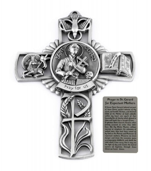 Saint Gerard Wall Cross in Pewter 5 Inches - Pewter