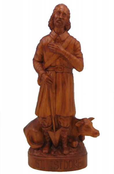 Saint Isidore the Farmer Statue - 24 inch - Woodstain