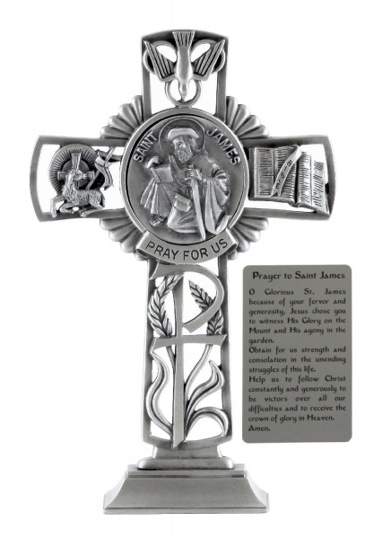Saint James Standing Cross in Pewter 6 Inches - Pewter