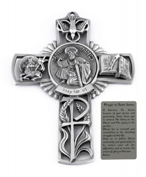 Saint James Wall Cross in Pewter 5 Inches - Pewter