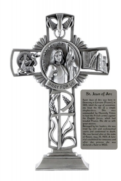 Saint Joan of Arc Standing Cross in Pewter 6 Inches - Pewter