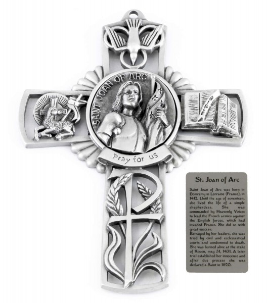 Saint Joan of Wall Cross in Pewter 5 Inches - Pewter