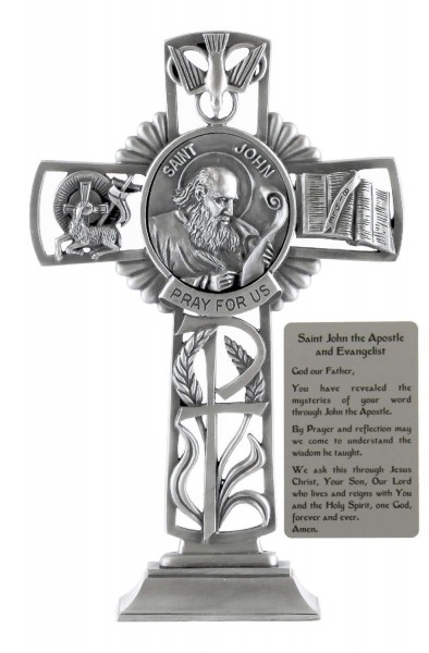 Saint John the Apostle Standing Cross in Pewter 6 Inches - Pewter