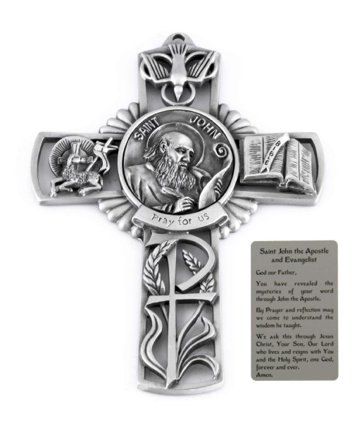 Saint John the Apostle Wall Cross in Pewter 5 Inches - Pewter
