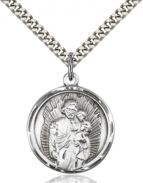 Rays of Light Saint Joseph Pendant - Sterling Silver