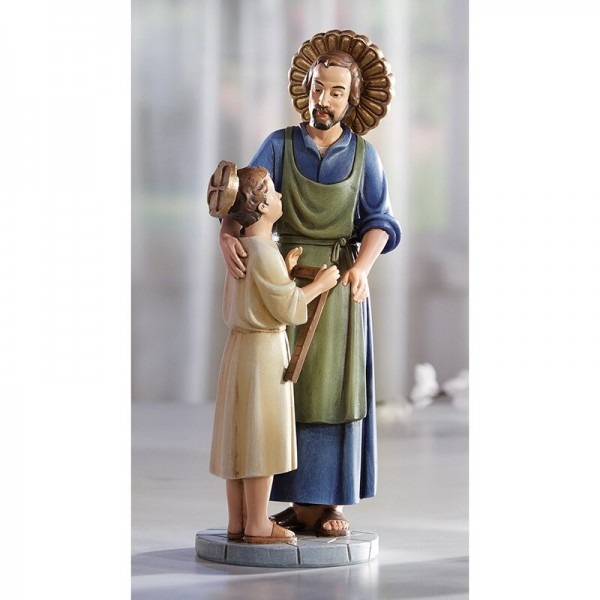 Saint Joseph the Worker with Jesus 8 Inch High Statue - Full Color