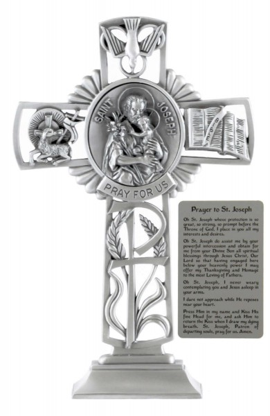 Saint Joseph and Child Standing Cross in Pewter 6 Inches - Pewter