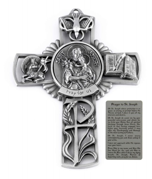 Saint Joseph and Child Wall Cross in Pewter 5 Inches - Pewter