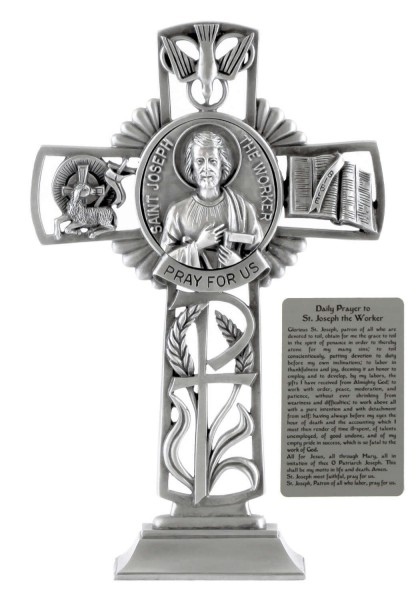 Saint Joseph the Worker Standing Cross in Pewter 6 Inches - Pewter