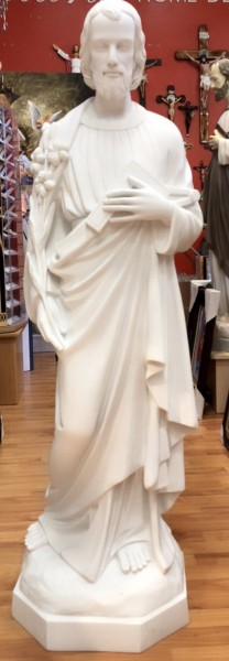 Saint Joseph the Worker Statue - 57 Inches Marble Composite - White