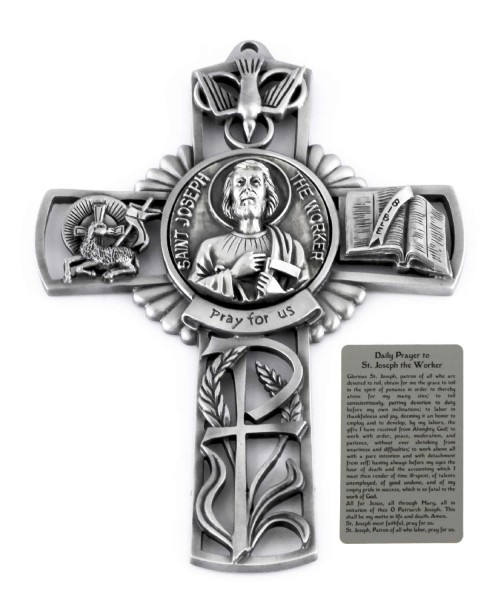 Saint Joseph the Worker Wall Cross in Pewter 5 Inches - Pewter