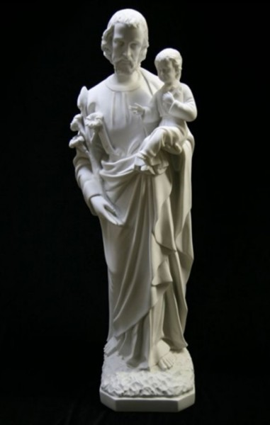 Saint Joseph with Child Statue White Marble Composite - 33 inch - White