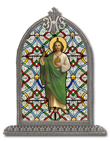 Saint Jude Glass Art in Arched Frame - Full Color
