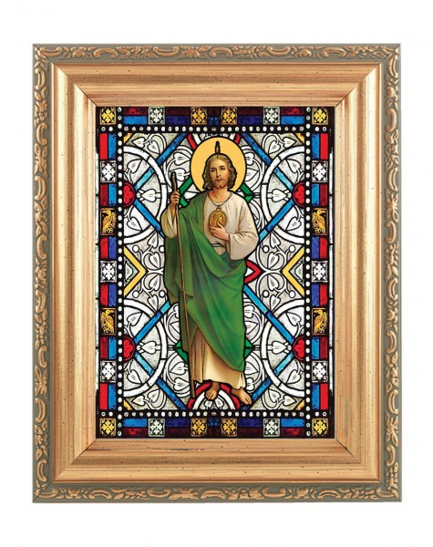 Saint Jude Gold Frame Stained Glass Effect - Full Color