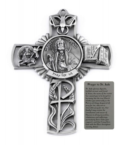 Saint Jude Wall Cross in Pewter 5 Inches - Pewter