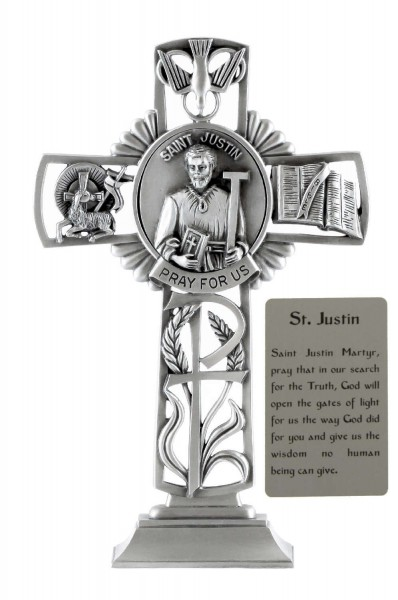 Saint Justin Standing Cross in Pewter 6 Inches - Pewter