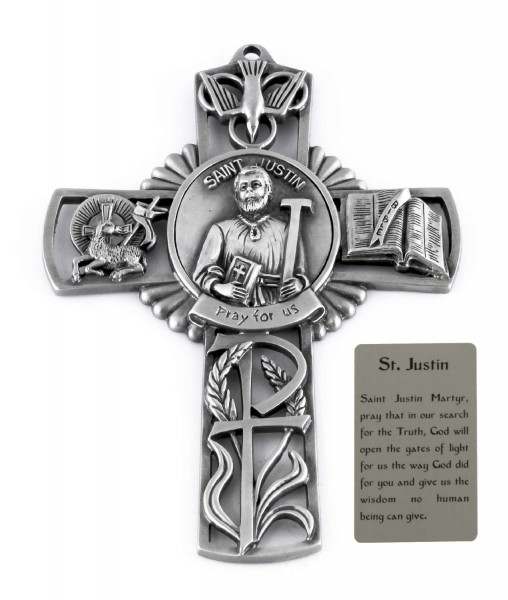 Saint Justin Wall Cross in Pewter 5 Inches - Pewter