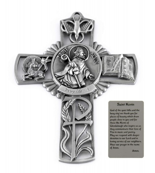 Saint Kevin Wall Cross in Pewter 5 Inches - Pewter