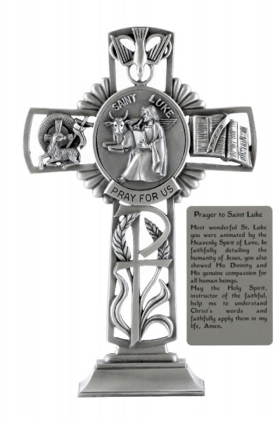 Saint Luke Standing Cross in Pewter 6 Inches - Pewter
