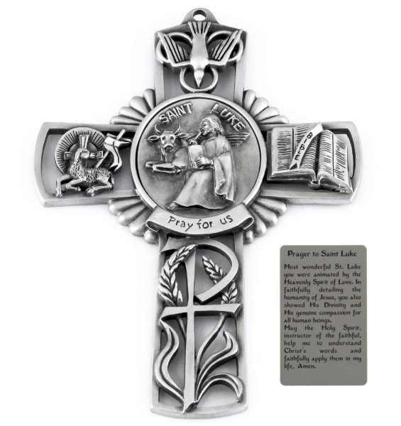 Saint Luke Wall Cross in Pewter 5 Inches - Pewter