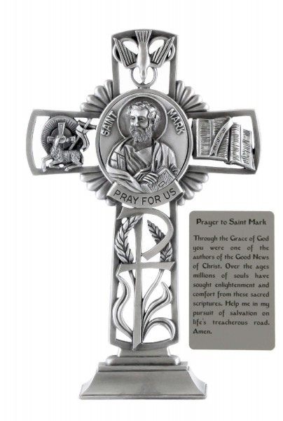 Saint Mark Standing Cross In Pewter 6 Inches