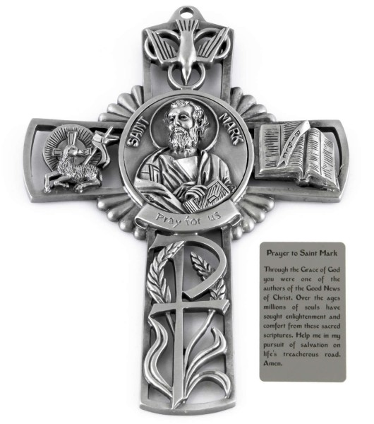 Saint Mark Wall Cross in Pewter 5 Inches - Pewter