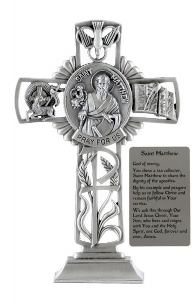 Saint Matthew Standing Cross in Pewter 6 Inches - Pewter