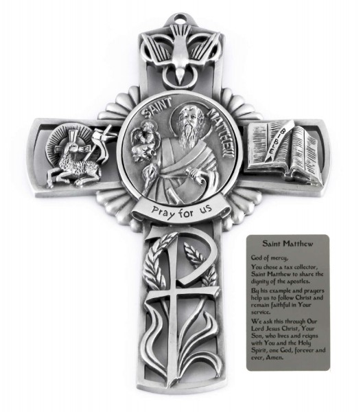 Saint Matthew Wall Cross in Pewter 5 Inches - Pewter