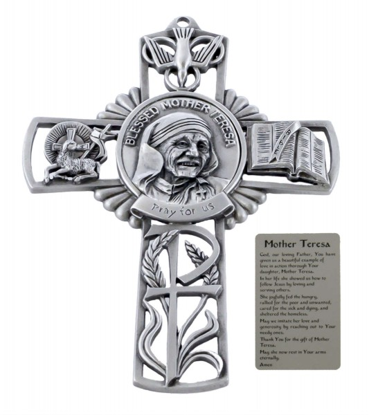 Saint Mother Teresa Wall Cross in Pewter 5 Inches - Pewter