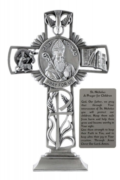 Saint Nicholas Standing Cross in Pewter 6 Inches - Pewter
