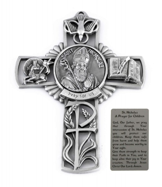 Saint Nicholas Wall Cross in Pewter 5 Inches - Pewter