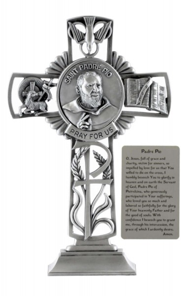Saint Padre Pio Standing Cross in Pewter 6 Inches - Pewter