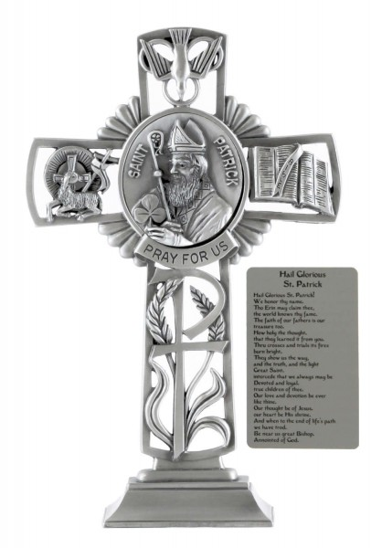 Saint Patrick Standing Cross in Pewter 6 Inches - Pewter