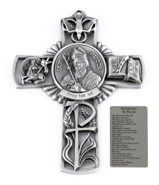 Saint Patrick Wall Cross in Pewter 5 Inches - Pewter