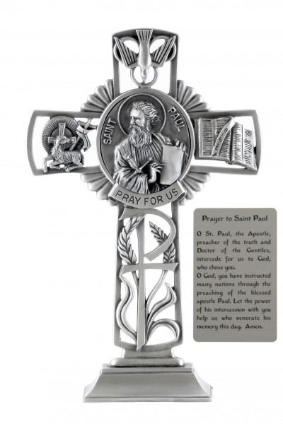 Saint Paul Standing Cross in Pewter 6 Inches - Pewter