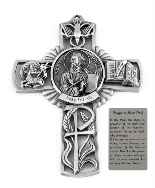 Saint Paul Wall Cross in Pewter 5 Inches - Pewter