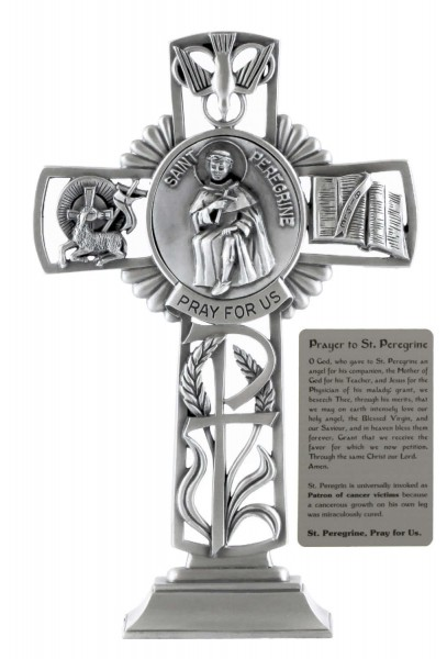 Saint Peregrine Standing Cross in Pewter 6 Inches - Pewter
