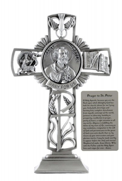 Saint Peter Standing Cross in Pewter 6 Inches - Pewter