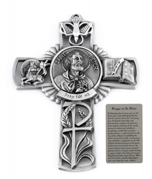 Saint Peter Wall Cross in Pewter 5 Inches - Pewter