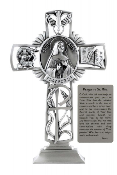 Saint Rita Standing Cross in Pewter 6 Inches - Pewter