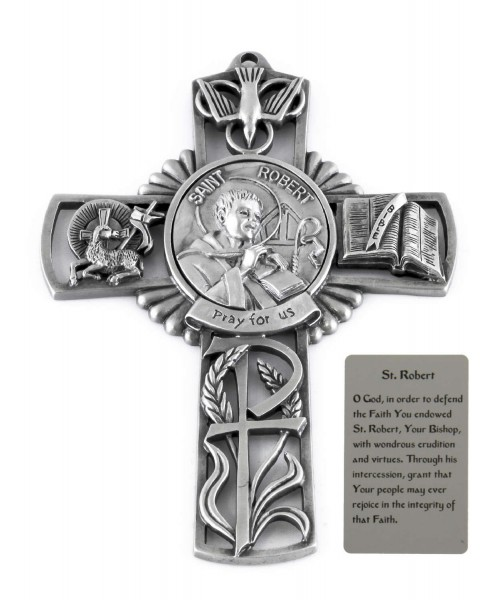 Saint Robert Wall Cross in Pewter 5 Inches - Pewter