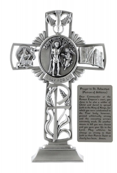 Saint Sebastian Standing Cross in Pewter 6 Inches - Pewter