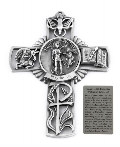 Saint Sebastian Wall Cross in Pewter 5 Inches - Pewter