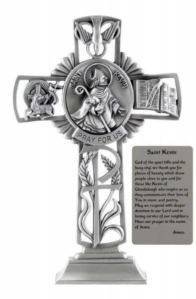 Saint St. Kevin Standing Cross in Pewter 6 Inches - Pewter
