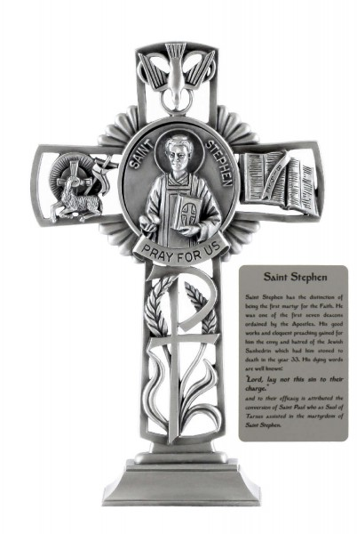 Saint Stephen Standing Cross in Pewter 6 Inches - Pewter