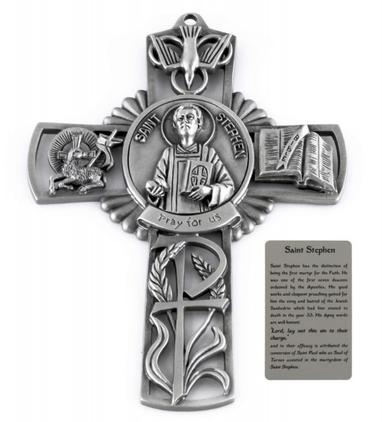 Saint Stephen Wall Cross in Pewter 5 Inches - Pewter