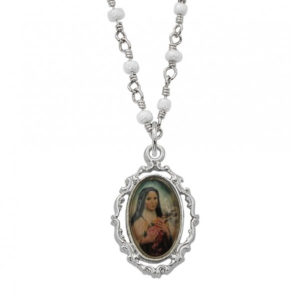 Saint Therese Necklace with Faux Pearls - Silver tone
