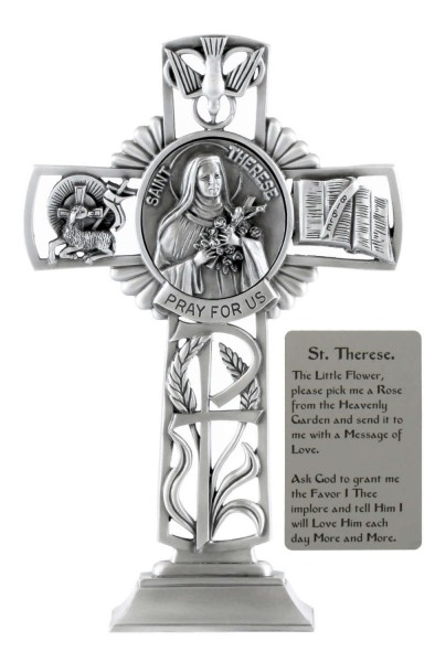 Saint Therese Standing Cross in Pewter 6 Inches - Pewter