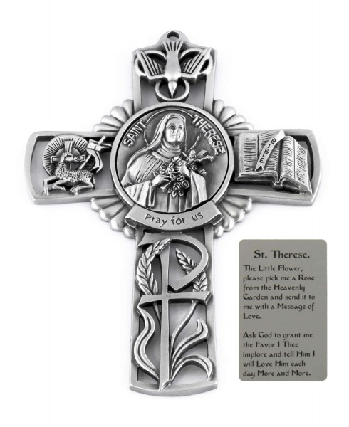 Saint Therese Wall Cross in Pewter 5 Inches - Pewter